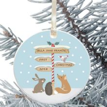 Ceramic Keepsake Baby's 1st Christmas Tree Decoration - Signpost Design
